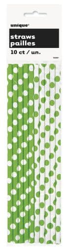 Lime Green Dots Paper Straws 10pc