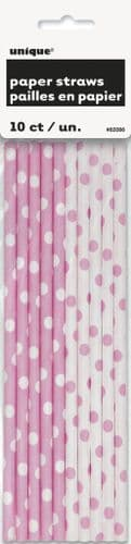 Lovely Pink Dot Paper Straw 10pc