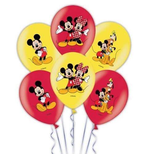 """Mickey Mouse 4 Colour Latex Balloons Packet of 6 x 11"""""""