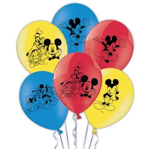 """Mickey Mouse 4 sides Latex Balloons Packet of 6 x 11"""""""