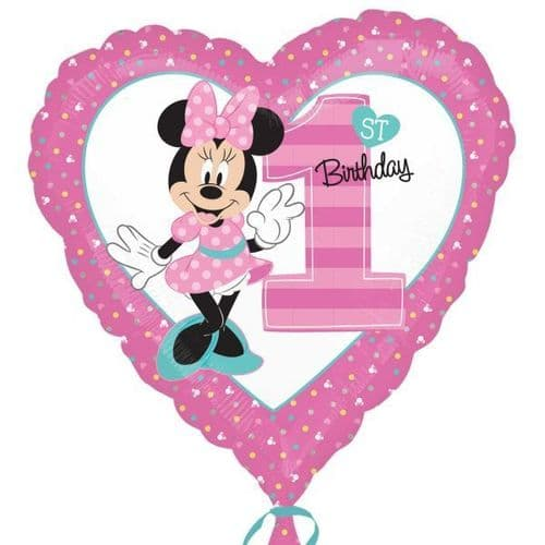 Minnie Mouse 1st Birthday Standard Foil Balloons S60 - 5 PC