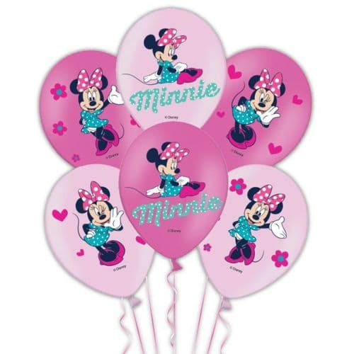 """Minnie Mouse 4 colour Latex Balloons Packet of 6 x 11"""""""