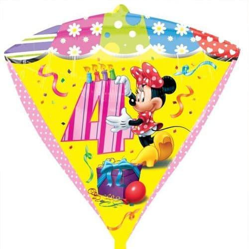 Minnie Mouse Age 4 Diamondz Foil Balloon