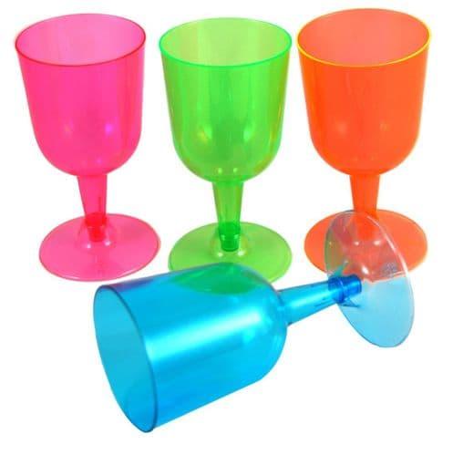 Neon Plastic Wine Glasses 20's