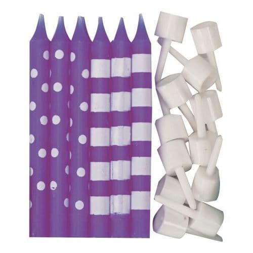 New Purple Dots & Stripes Candles 12 per pack.
