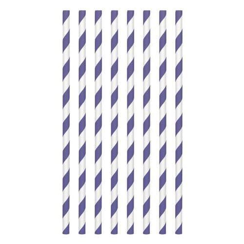New Purple Paper Straws 19cm pack of 24.