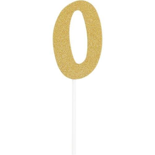 Number 0 Glitter Cake Topper Gold