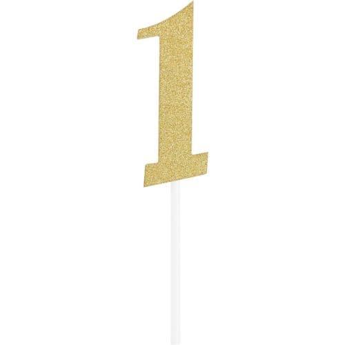 Number 1 Glitter Cake Topper Gold