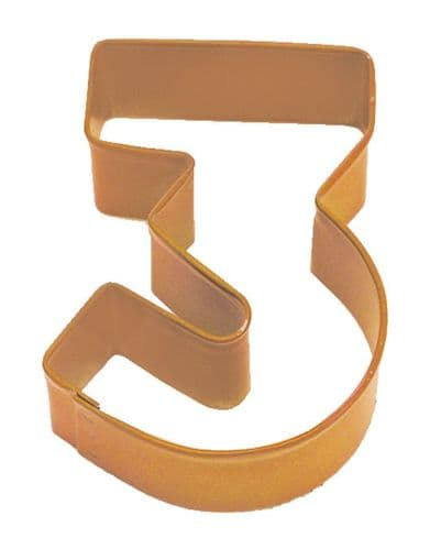 Number 3 Poly-Resin Coated Cookie Cutter Orange