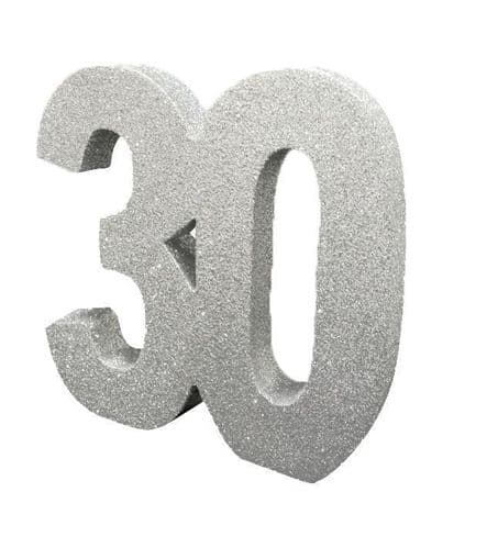 Number 30 Glitter Table Decoration Silver