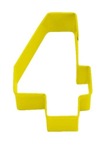 Number 4 Poly-Resin Coated Cookie Cutter Yellow