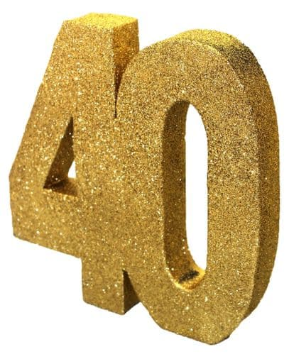 Number 40 Glitter Table Decoration Gold