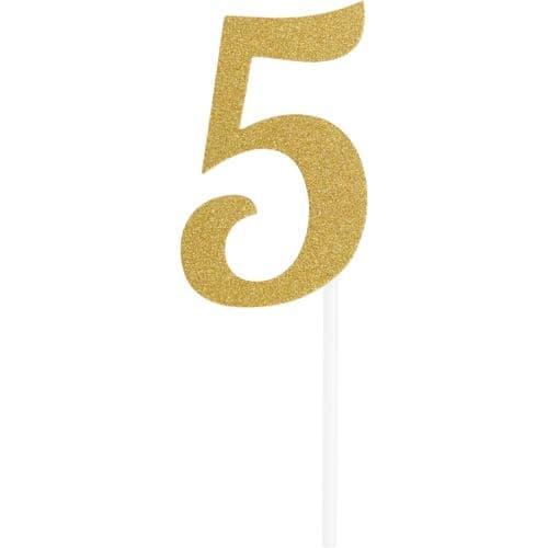 Number 5 Glitter Cake Topper Gold