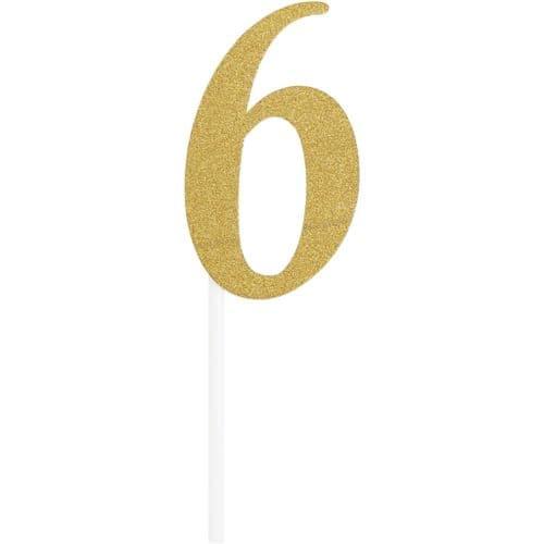 Number 6 Glitter Cake Topper Gold