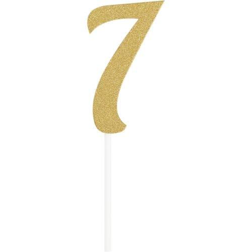 Number 7 Glitter Cake Topper Gold