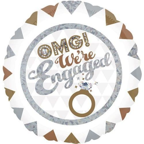 OMG! We're Engaged Holographic Standard Foil Balloon