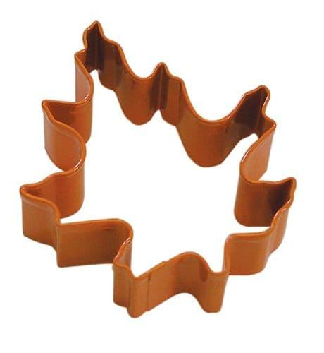 Oak Leaf Poly-Resin Coated Cookie Cutter Orange