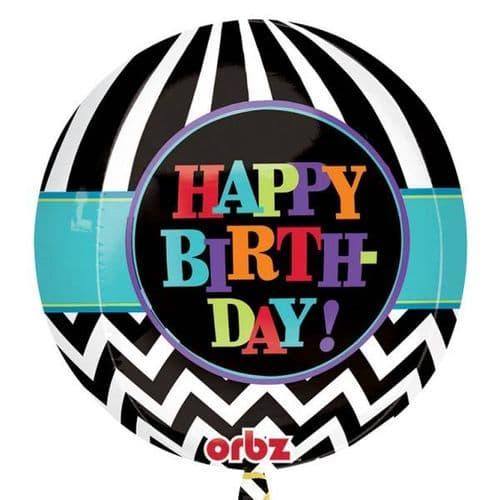 "Orbz Celebrate Chevron Foil Balloons 15"""