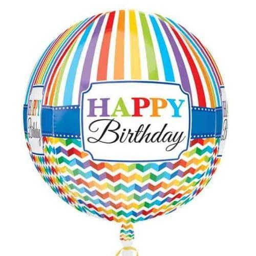 Orbz Happy Birthday Bright Stripe & Chevron Foil Balloon