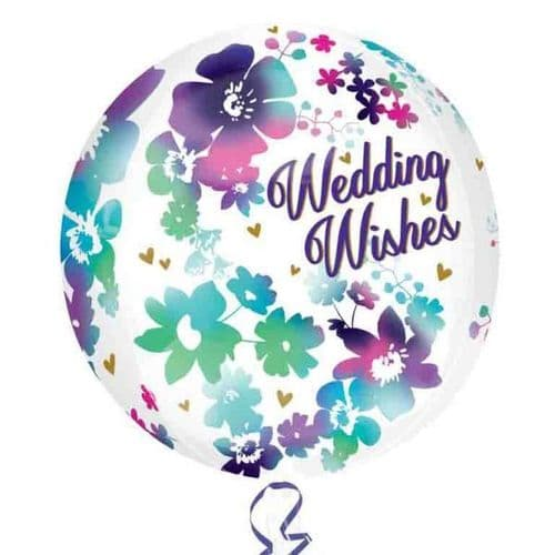 """Orbz Watercolour Wedding Wishes Foil Balloons 15"""" x 16"""""""