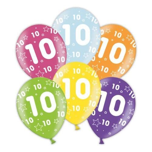 """Packet of 25 x 11"""" 10th Birthday Assorted Colours Printed Latex Balloons"""