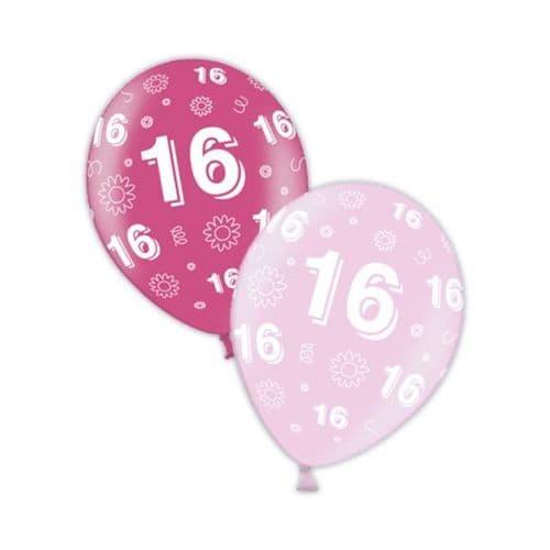 "Packet of 25 x 11"" 16th Birthday Fab Fuchsia & Pretty Pink Printed Latex Balloons"