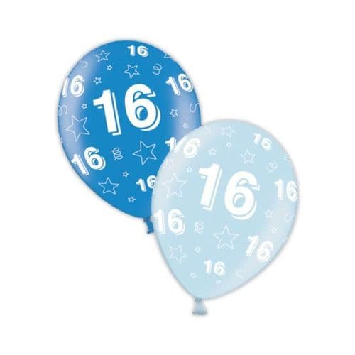 """Packet of 25 x 11"""" 16th Birthday Rich Blue & Icy Blue Printed Latex Balloons"""