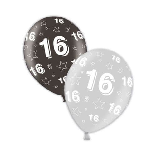 """Packet of 25 x 11"""" 16th Birthday Shimmering Silver & Deepest Black Printed Latex Balloons"""
