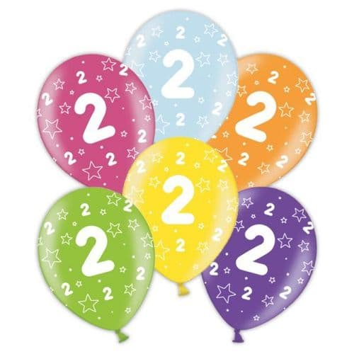 """Packet of 25 x 11"""" 2nd Birthday Assorted Colours Printed Latex Balloons"""