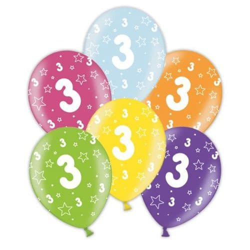 """Packet of 25 x 11"""" 3rd Birthday Assorted Colours Printed Latex Balloons"""