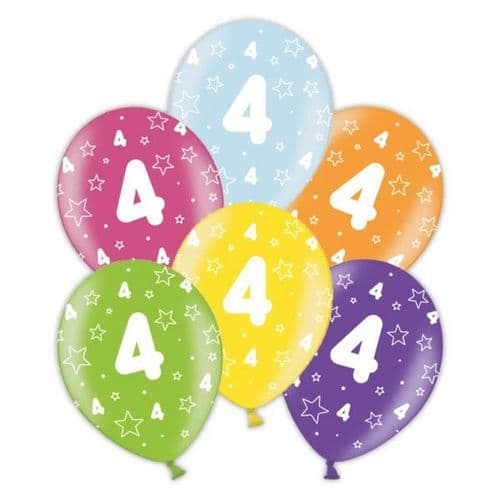 """Packet of 25 x 11"""" 4th Birthday Assorted Colours Printed Latex Balloons"""