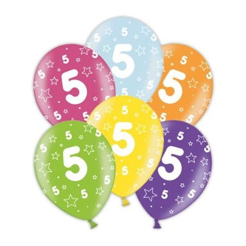 """Packet of 25 x 11"""" 5th Birthday Assorted Colours Printed Latex Balloons"""