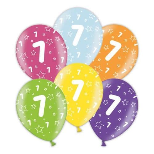 """Packet of 25 x 11"""" 7th Birthday Assorted Colours Printed Latex Balloons"""