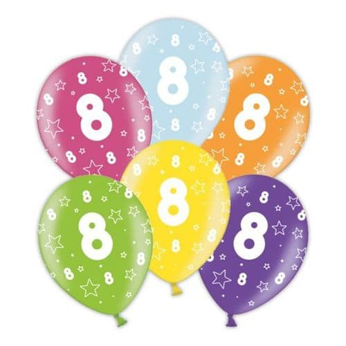 """Packet of 25 x 11"""" 8th Birthday Assorted Colours Printed Latex Balloons"""