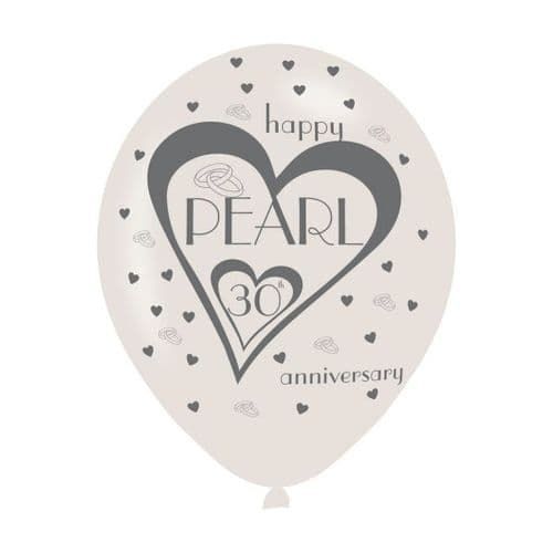 """Pearl 30th Anniversary Latex Balloons 11"""" packet of 6"""