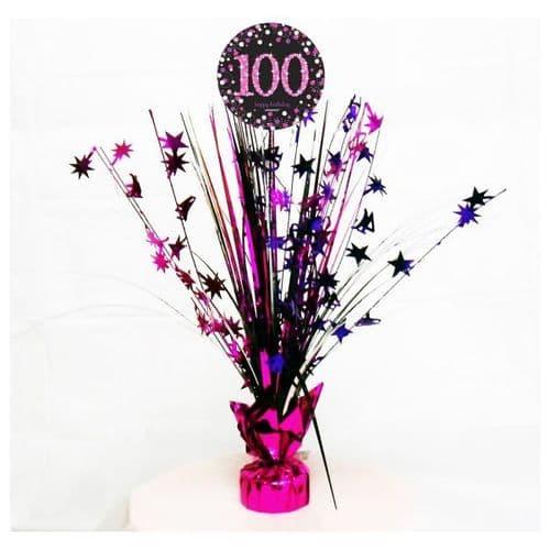 Pink Celebration 100th Birthday Centrepiece Spray 45cm
