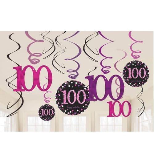 Pink Celebration 100th Birthday Swirl Decorations 12 per pack.