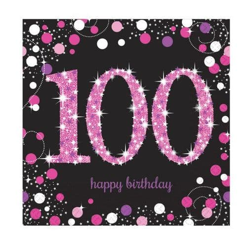 Pink Celebration 100th Luncheon Napkins 33cm 16 per pack.