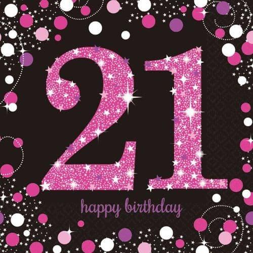Pink Celebration 21st Birthday Luncheon Napkins 33cm 16 per pack.