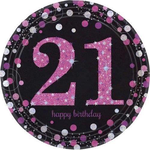 Pink Celebration 21st Birthday Prismatic Paper Plates 23cm 8 per pack.