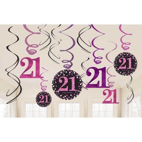 Pink Celebration 21st Swirl Decorations 12 per pack.