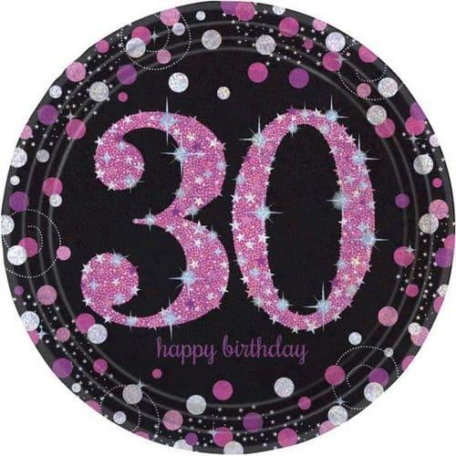Pink Celebration 30th Birthday Prismatic Paper Plates 23cm 8 per pack.