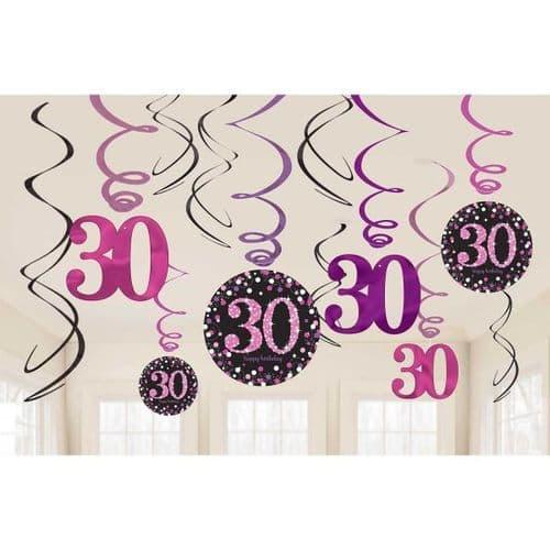 Pink Celebration 30th Swirl Decorations 12 per pack.
