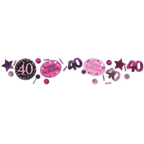 Pink Celebration 40th 3 Pack Value Confetti 34g