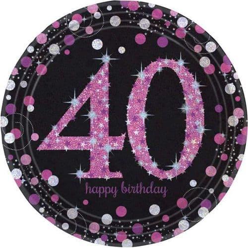 Pink Celebration 40th Birthday Prismatic Paper Plates 23cm 8 per pack.