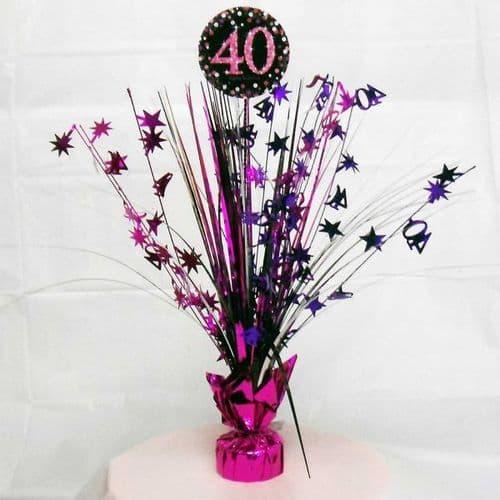 Pink Celebration 40th Centrepiece Spray 33cm