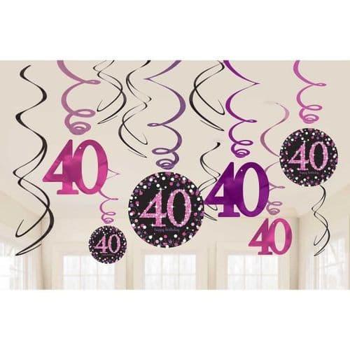 Pink Celebration 40th Swirl Decorations 12 per pack.