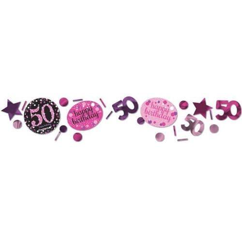 Pink Celebration 50th 3 Pack Value Confetti 34g
