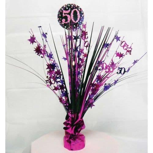 Pink Celebration 50th Centrepiece Spray 45cm