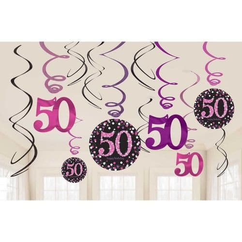 Pink Celebration 50th Hanging Swirl Decorations 12 per pack.